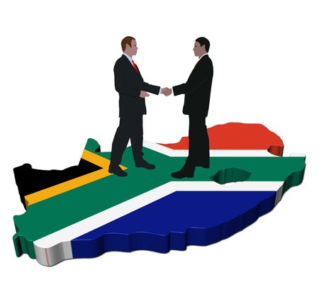 business partnership: Business meeting on South Africa map flag illustration