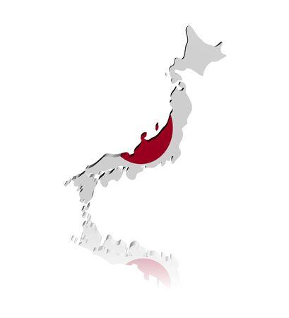 Japan map flag 3d render with reflection illustration illustration