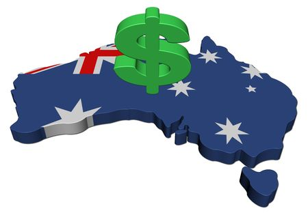 Australia map flag with dollar symbol illustration  illustration