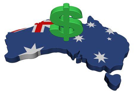 Vlag van Australië kaart met de dollar symbool illustratie  Stockfoto