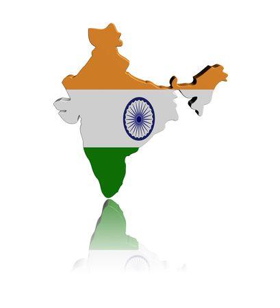 インド地図フラグ反射イラストと 3 d のレンダリング