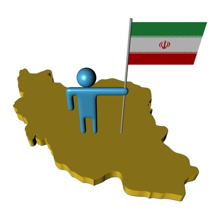 iranian: abstract person with Iranian flag on map illustration