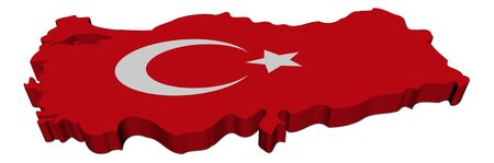 Turkey map flag 3d render on white illustration illustration
