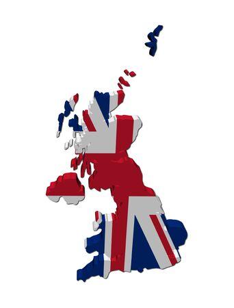 bandera de gran bretaña: Mapa de Gran Bretaña bandera procesamiento 3d en blanco de la ilustración