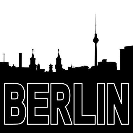 ベルリンのスカイラインの黒いシルエット イラスト