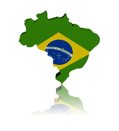 Brazil map flag 3d render with reflection illustration  Stock Photo