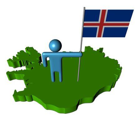 icelandic flag: persona abstracta con bandera islandesa en la ilustraci�n de mapa Foto de archivo