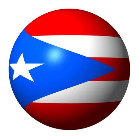 bandera de puerto rico: Bandera de Puerto Rico esfera aislado en ilustraci�n blanco