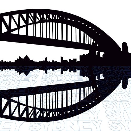 Sydney Harbour Bridge with perspective text outline foreground photo