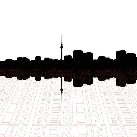 Berlin skyline with perspective text outline foreground photo