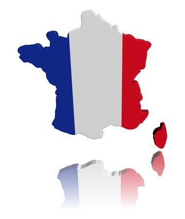 フランス地図フラグ反射イラストと 3 d のレンダリング