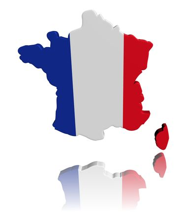 french flag: France map flag 3d render with reflection illustration