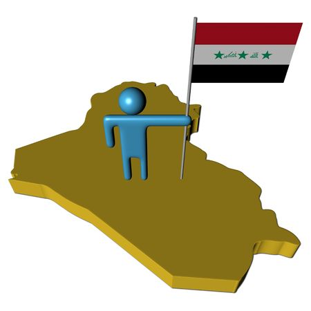 iraqi: abstract person with Iraqi flag on map illustration