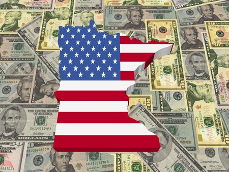 Minnesota 3d Map flag on American dollars illustration illustration