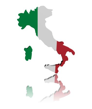 Italy map flag 3d render with reflection illustration