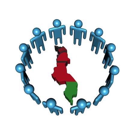 malawian: Circle of abstract people around Malawi map flag illustration Stock Photo