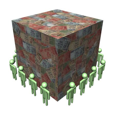workers surrounding giant Rupees cube illustration illustration