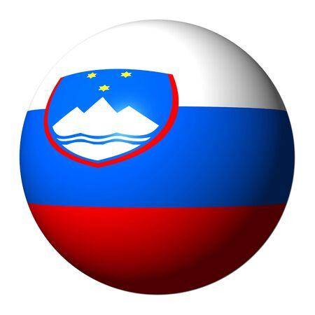 slovenian: Slovenian flag sphere isolated on white illustration Stock Photo