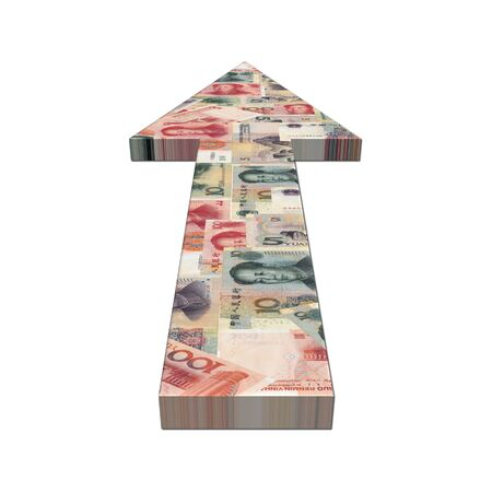 Chinese Yuan arrow on white illustration illustration