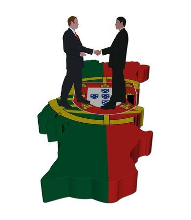 Business people shaking hands on Portugal map flag illustration illustration