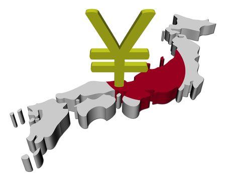 yen: Japan map flag with Yen symbol illustration