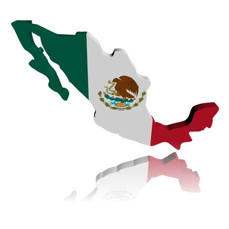 Mexico map flag 3d render with reflection illustration