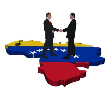 Business people shaking hands on Venezuela map flag illustration illustration