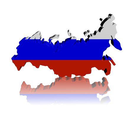 russland karte: Russland Karte Flagge 3d Render mit Reflektion illustration Lizenzfreie Bilder