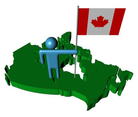 abstract person with Canada flag on map illustration illustration