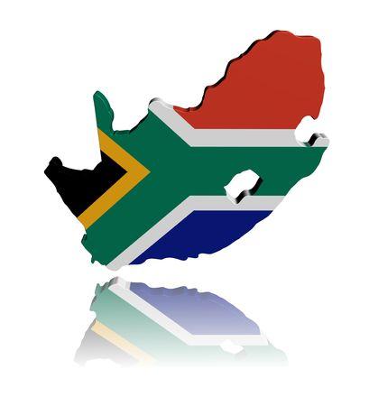 mapa de africa: Mapa de Sud�frica bandera procesamiento 3d con ilustraci�n de reflexi�n Foto de archivo