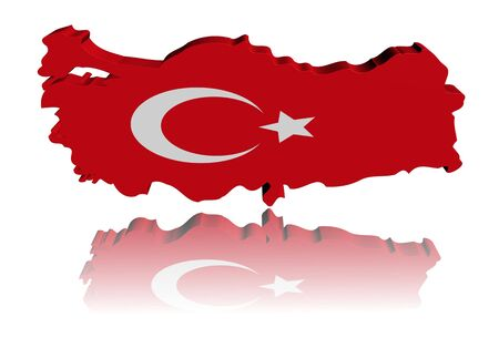 turkish flag: Turkey map flag 3d render with reflection illustration Stock Photo