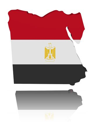 Egypt map flag 3d render with reflection illustration illustration