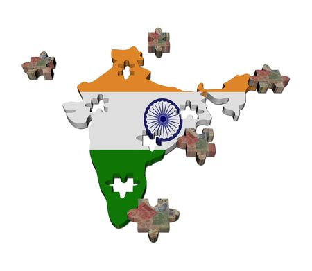 India Map flag jigsaw with Rupees pieces illustration illustration