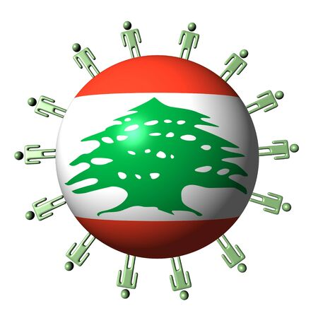 circle of abstract people around Lebanon flag sphere illustration illustration