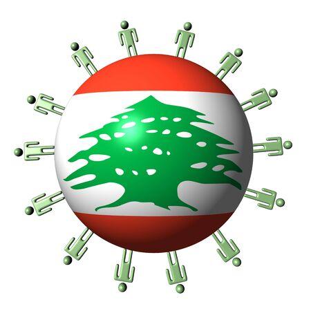 circle of abstract people around Lebanon flag sphere illustration illustration
