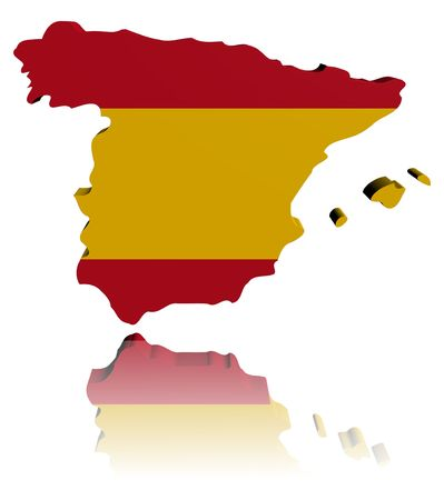 スペイン地図フラグ反射イラストと 3 d のレンダリング