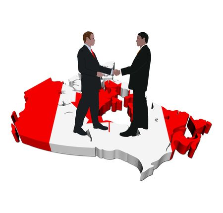 canadian flag: Business people shaking hands on Canada map flag illustration Stock Photo