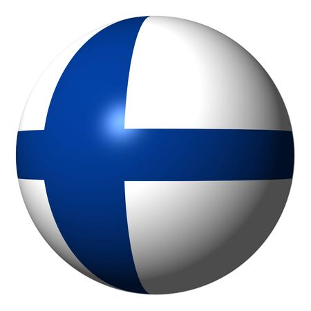 finland flag: Finland flag sphere isolated on white illustration