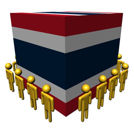workers surrounding Thailand flag cube illustration Stock Illustration - 6782015