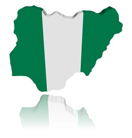 Nigeria map flag 3d render with reflection illustration illustration