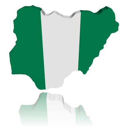 nigeria: Nigeria map flag 3d render with reflection illustration Stock Photo
