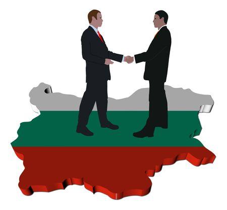 Gens d'affaires se serrant la main sur la Bulgarie carte drapeau illustration