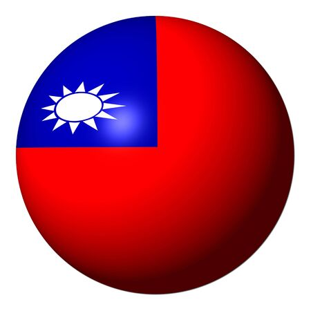 taiwanese: Taiwan flag sphere isolated on white illustration