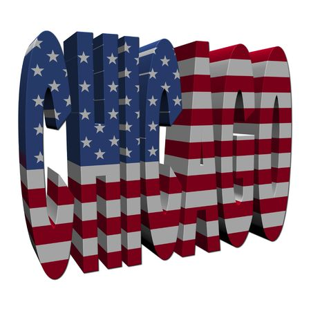 Chicago 3d text with American flag on white illustration illustration