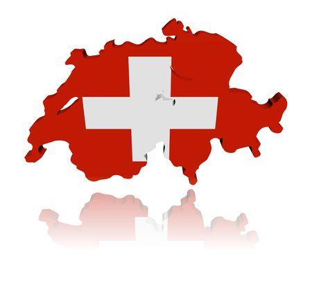 スイス地図フラグ反射イラストと 3 d のレンダリング 写真素材