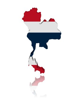 Thailand map flag 3d render with reflection illustration illustration