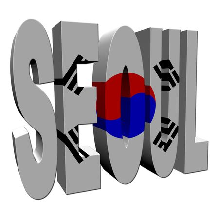 Seoul 3d text with South Korean flag on white illustration illustration