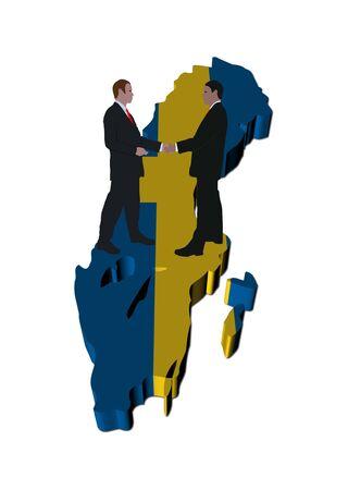Business people shaking hands on Sweden map flag illustration Stock Illustration - 6821903