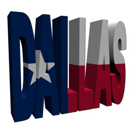 texan: Dallas 3d text with Texan flag on white illustration Stock Photo