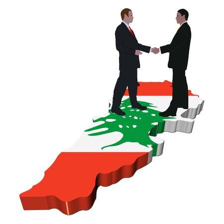 Business people shaking hands on Lebanon map flag illustration illustration